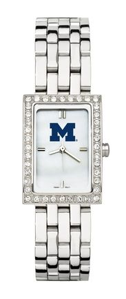 Michigan Wolverines Women's Allure Watch with Stainless Steel Bracelet: This women's fashion watch has a… #Sport #Football #Rugby #IceHockey