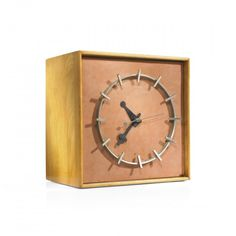 """Calfskin Face"" Table Clock, Model 4761, Designed by Irving Harper, Howard Miller Clock Company, 1949"