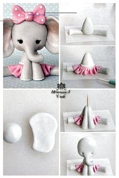 How to dye fondant in any color using only 5 gel colors - tattoo ideas Fondant Giraffe, Elephant Cake Toppers, Elephant Cakes, Fondant Animals, Elephant Baby Shower Cake, Cute Polymer Clay, Polymer Clay Animals, Cute Clay, Polymer Clay Projects