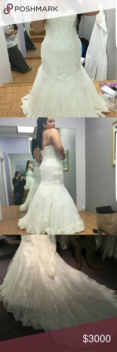 Maggie Sottaro (Tracey Style) Wedding dress is ivory & bought at size 16 was hollow to hem and alterations were done to my hight. My hight is 5.3 and my shoes that the dress was hemmed with is 1 and 1/2 inch platform, 4 and 1/2 inch heel hight. Dress comes with a custom made bolero lace jacket and custom made lace cap sleeves. Also bought as an extra a diamond belt and comes with veil and blusher. The bussel was done as a water fall effect as seen in the secound pic.  Dress was only worn for…
