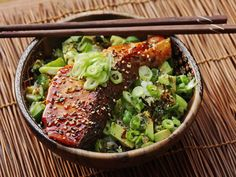 Having a batch of teriyaki sauce in your fridge at all times (it lasts forever) allows you to pull together a dinner like this rice bowl with teriyaki-glazed salmon and avocado in the amount of time it takes to steam a pot of rice. Once you have the rice on, all you've got to do is sear the salmon, dice up some avocado and cucumber, slice a couple of scallions, and pull that leftover teriyaki sauce out of the fridge.