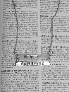 HAMILTON Broadway SATISFIED Lyrics Double Bar necklace by Westeros