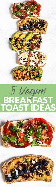 Amp up your plain piece of toast with these 5 Vegan Breakfast Toast Ideas! With both sweet & savory options, there's a toast creation perfect for any craving. (can be gluten-free) (Vegan Recipes Breakfast) Veggie Recipes, Whole Food Recipes, Vegetarian Recipes, Cooking Recipes, Healthy Recipes, Smoker Recipes, Veggie Food, Vegetable Pasta, Kitchen Recipes