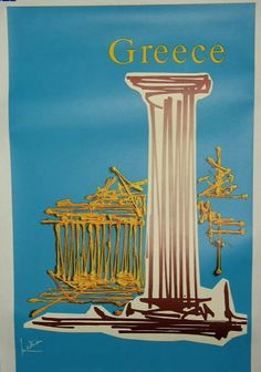 Vintage travel poster of Greece for Air France by Georges Mathieu, Retro Poster, Poster Art, Poster Vintage, Vintage Travel Posters, Vintage Ads, Air France, Retro Airline, Vintage Airline, Georges Mathieu