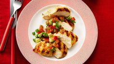 Grilled Chicken Breast With Diced Avocado, Tomato and Cilantro - Ready in less than 30 min. Costs less than $1.50/serving.