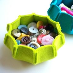 Felt bowl for all small items. Lime green & colorful, an easy DIY. Great to keep on top of the dryer as a catch-all for coins, bobby pins, buttons, etc.