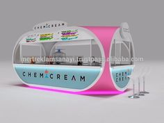 Ice Cream Waffle Bar Cake Shop Candy Shop Cube Design Mall Kiosk Chemicream Indoor Fast Food Kiosk