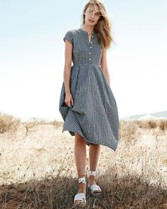 An easy summer dress. ✔️ Shop our short-sleeve gingham dress via the link in our bio. #jcrewalways