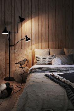Slaapplek met veel warme, natuurlijke materialen