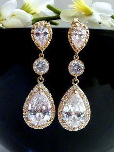 Wedding Bridal Earrings Celebrity LARGE Clear by JCBridalJewelry, $49.95