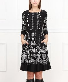 Another great find on #zulily! Black & White Damask Fit & Flare Dress by Reborn Collection #zulilyfinds