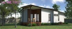 This is one of our larger designs with generous Bedrooms and an open-plan Living / Dining / Kitchen area and an optional Deck. Granny Flat, Small House Plans, Open Plan Living, Flat Design, Brisbane, Gazebo, Deck, Studio Spaces, Outdoor Structures