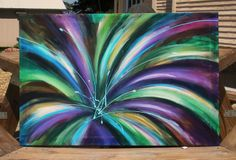 PAINTING SALE 20% off Abstract Painting Flower Painting or Firework Painting Floral Original Purple and Green Painting on Stretched Canvas. $200.00, via Etsy.