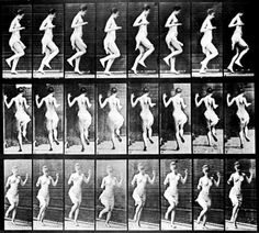 Twenty-four full-length images of a half-nude woman hopping on her left foot in front of a grid backdrop, viewed from three different perspectives. Photographs by Eadweard Muybridge. Get premium, high resolution news photos at Getty Images