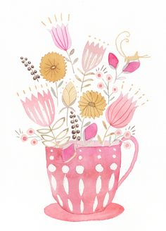 Pink Teacup Watercolor and pencil on paper, 2013 By Julianna Swaney