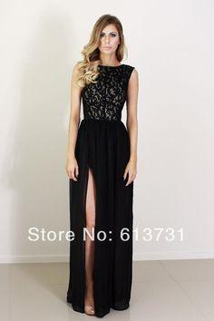 Free Shipping 2014 High Neck Sleeveless Black White Lace Top Prom Dress Chiffon Side Slit Formal Evening Dresses Long