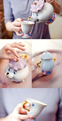Beauty & The Beast, Mrs. Potts Disney Teapot Set its so kawaii
