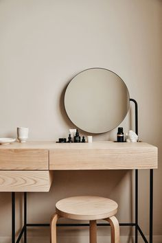 Furniture: Desks Minimalist vanity desk from Dims is clean-lined and storage-filled - Curbed Jacuzzi Vanity Desk, Vanity Tables, Modern Vanity Table, Mirror Desk, Makeup Tables, Makeup Table Vanity, Diy Vanity, Dressing Table Design, Dressing Table Vanity