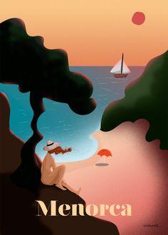 Menorca Vintage Poster. High quality Giclee by estelaperezillustra