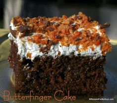Butterfinger Cake... Except make cake from scratch :)