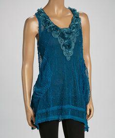 Look at this #zulilyfind! Turquoise Sheer Linen-Blend Sleeveless Tunic by Pretty Angel #zulilyfinds