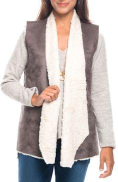 grey faux fur draped vest