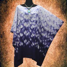 New Japanese Shibori Fish Scale Handmade Artwork Tie dye Gypsy Casual Poncho Tunic Top blouse US10-24