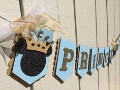 Prince Mickey, little prince theme. Gold and light blue glitter mouse ears, royal themed banner. Photo prop, first birthday, gender reveal.