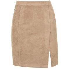 'Moves' Tan Suedette Front Split Mini Skirt - Mistress Rocks (165 PEN) ❤ liked on Polyvore featuring skirts, mini skirts, mini skirt, stretch skirt, stretchy mini skirts, stretchy skirts and beige skirt