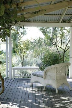 Porch with galvanized roofing.