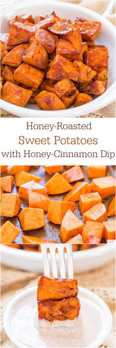 Honey-Roasted Sweet Potatoes with Honey-Cinnamon Dip - The honey glaze and the creamy cinnamon dip make these potatoes irresistible! We prefer olive oil and rosemary on our sweet potatoes. Think Food, I Love Food, Side Recipes, Vegetable Recipes, Cooking Recipes, Healthy Recipes, Honey And Cinnamon, Raw Honey, Sweet Potato Recipes