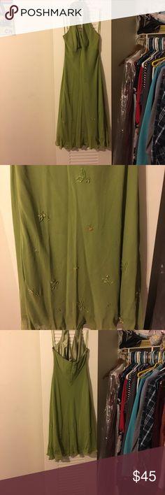 Green Cocktail Dress Green Halter top dress, with beaded flowers on the bottom Jones New York Dresses Backless