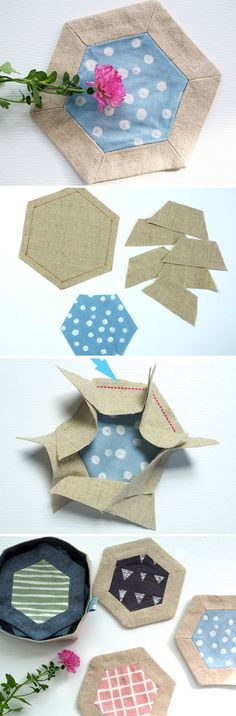 Hexagon Patchwork Tea Coasters Patterns. Quick Gifts to Stitch! DIY Tutorial.   http://www.free-tutorial.net/2016/12/diy-hexagon-coaster.html