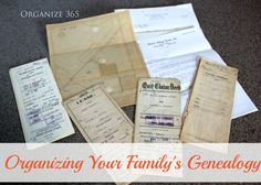 Organizing Your Family's Genealogy will show you where and how to look for those tidbits and treasure troves of genealogical gems, just waiting to be discovered. | Organize 365