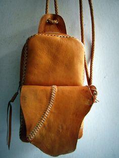 brown leather backpack bag shoulder bag M 100% by MaLiGetDressed