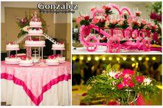 Quinceañera cake and reception decor ideas \\ Photo Credit: Gonzalez Photography