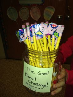 Pencil Challenge! I wrote each students magic number on the pencils. The last person who doesn't lose their pencil will win!