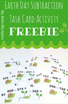 FREE Earth Day Subtraction Task Card Activity by Hello Mrs Sykes