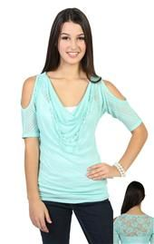 cold shoulder tunic top with necklace and lace panel on back Deb Shops, Junior Tops, Fashion Outfits, Fashionable Outfits, Cold Shoulder, Light Blue, My Style, Lace, How To Wear