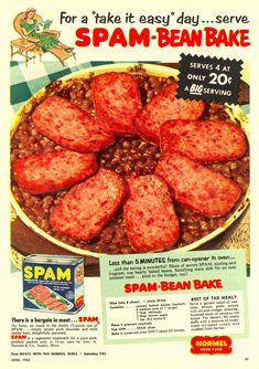 """Spam Bean Bake Recipe from """"Woman's Day"""" 