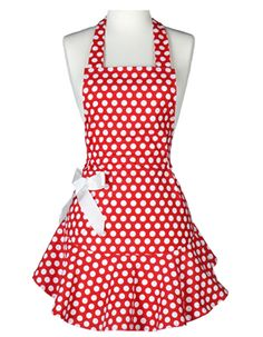 Josephine Red and White Polka Dot Full Apron