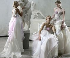 Purple and white soft romantic wedding dresses from italian bridal house Atelier Aimee