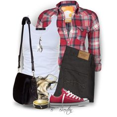"""""""Plaid Shirt & Sneakers"""" by bbroxton on Polyvore"""