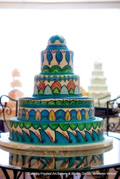 Who says a wedding cake has to be all white? | Cake by Frosted Art Bakery, Dallas, Executive Pastry Chef Bronwen Weber