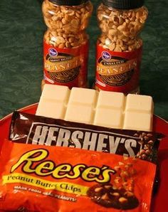 Peanut Crock Pot Candy Clusters.. some of the ingredients remind me of Malora's peanut butter sandwich cookies!!