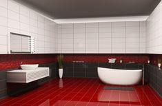 Bathroom Designs with Red Floor and Black Wall Decor Images