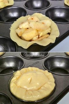 How to make Easy Mini Apple Pies. Recipe for four. Mini Desserts, Apple Desserts, Just Desserts, Delicious Desserts, Dessert Recipes, Yummy Food, Plated Desserts, Mini Apple Pies, Mini Pies