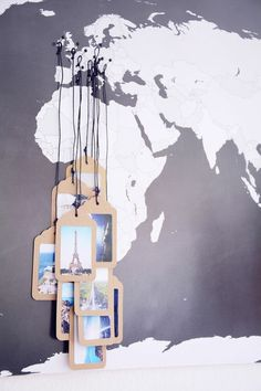 19 Gorgeous Travel-Inspired DIY Projects Picture tag map by Rotkehlchens. Click through for a roundup of 19 perfect DIY projects for travel lovers – all gorgeous, wanderlust-inspired and simple to make. Map Crafts, Diy And Crafts, Crafts With Pictures, Idee Diy, Travel Wall, Diy Pins, Diy Décoration, Diy Interior, Travel Memories
