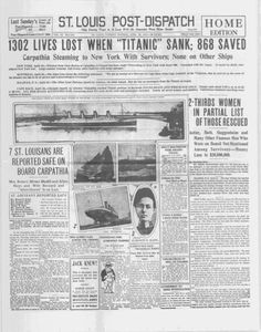 Titanic shipwreck mentioned in St. Louis Post-Dispatch #anniversary