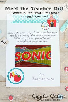 "Meet the Teacher ""Dinner is Our Treat"" Gift Idea and Printable www.gigglesgalore.net"